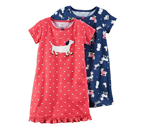 Amazon.com: Carter\'s Girls\' 4-14 2-Pack Dog Printed Gowns: Clothing