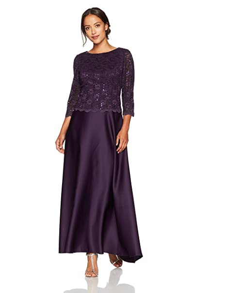 8b7070991bf Alex Evenings Women s Petite Long Mock Dress with Full Circle Satin Skirt