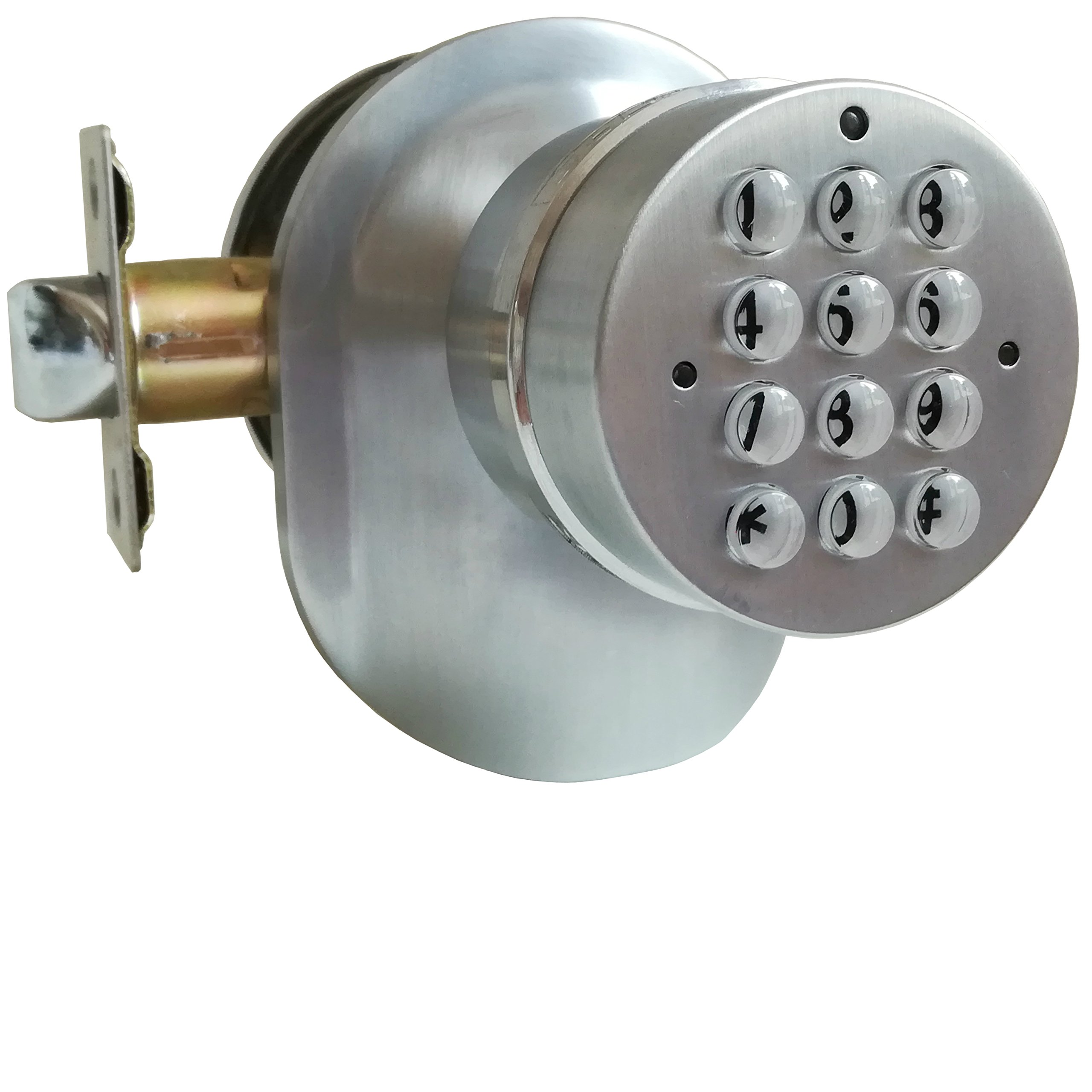 SoHoMiLL Electronic Door Knob with Backup Mechanical Key (Spring Latch LOCK; Not Deadbolt; Not Phone Connected), Satin Nickel, YL 99 B