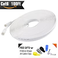 Cat 6 Ethernet Cable White 100 ft (At a Cat5e Price but Higher Bandwidth) Flat Internet Network Cable - Cat6 Ethernet Patch Cable Short - Cat6 Computer Lan Cable + Snagless RJ45 Connectors
