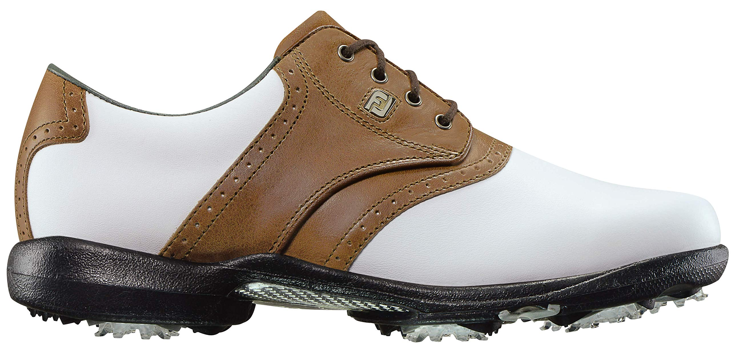 FootJoy Women's DryJoys Golf Shoes White 8 N Luggage Brown, US by FootJoy