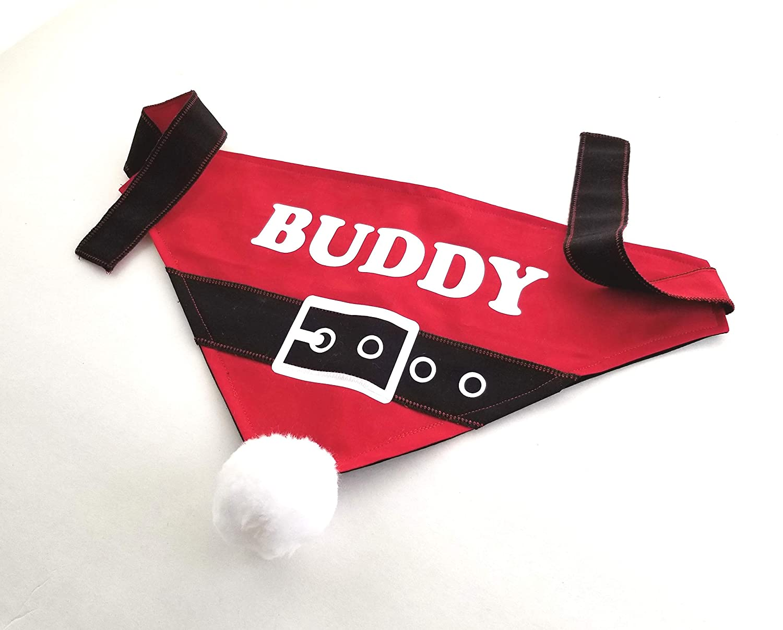 Santa Dog Bandana with Name Custom, Easy Tie Dog Bandana Santa Suit