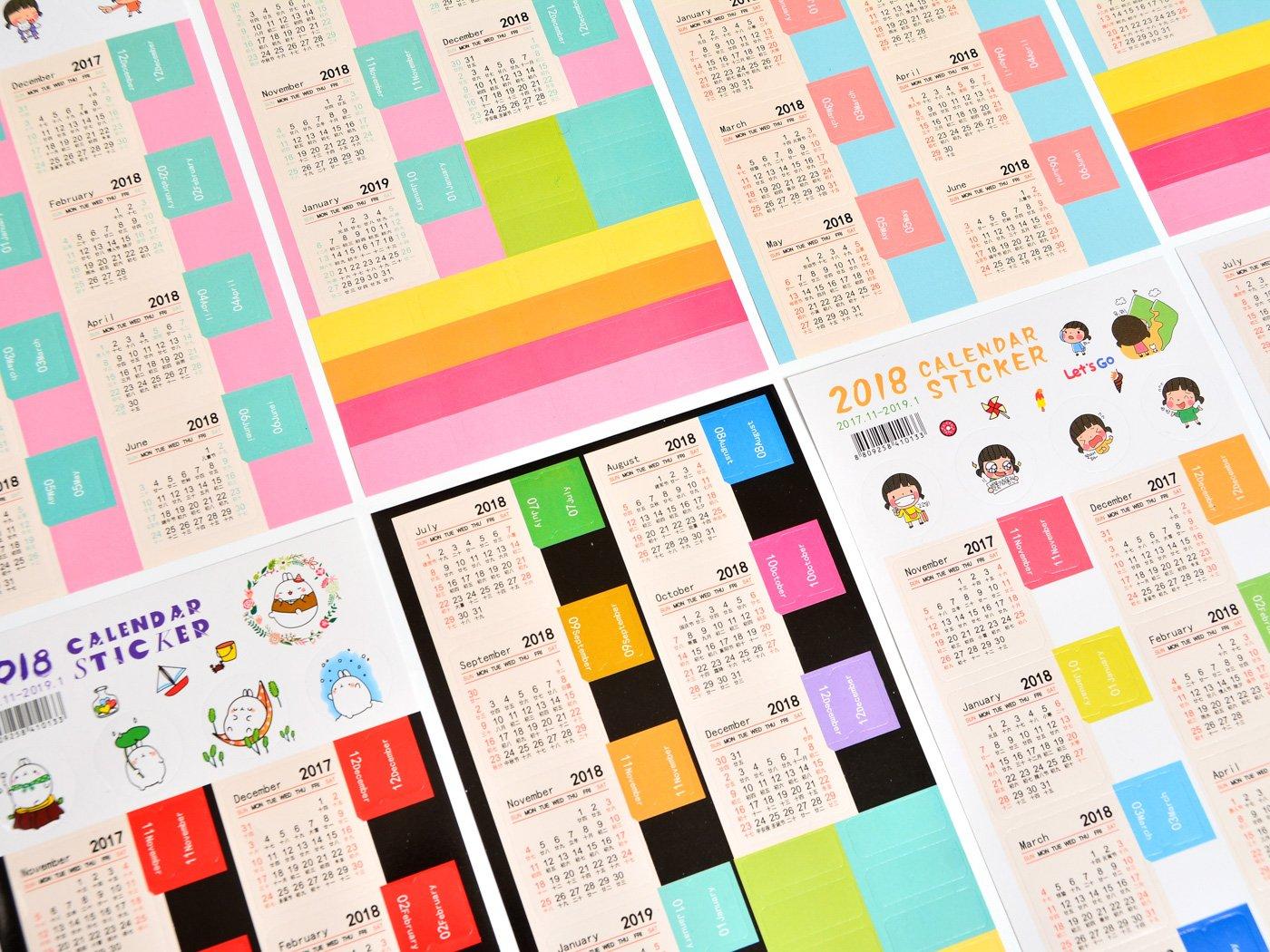 Amazon.com : 8 Set 2018 Monthly Planner Calendar Stickers ...