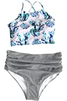 Cupshe Fashion Women's Floral Top Stripe Bottom Padding Bikini Set