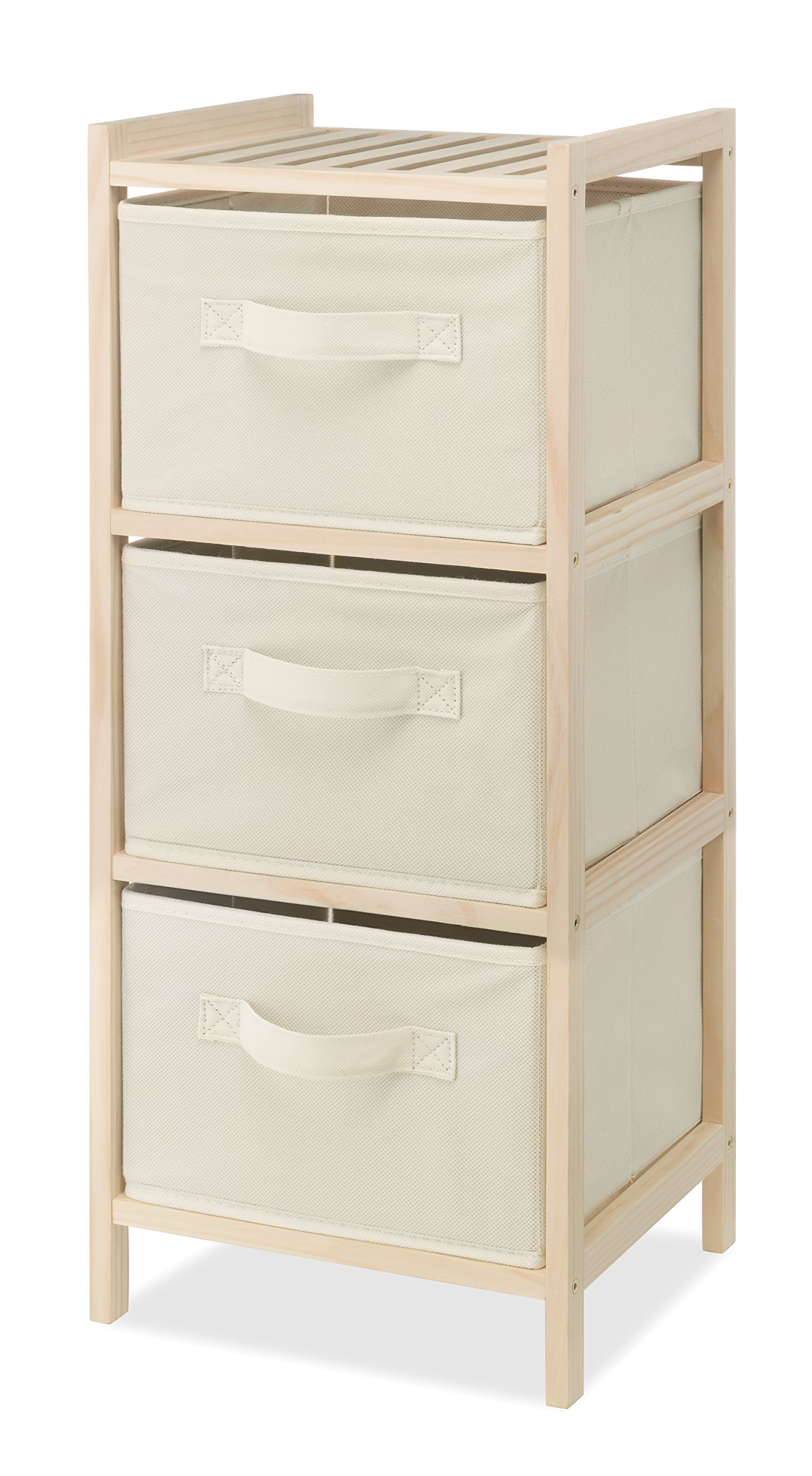 Whitmor 3 Drawer Wood Chest - Compact Design - Pull Out Fabric Bins - Natural Pine by Whitmor