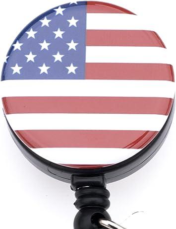 Clip-on Badge Reel Interchangeable Badge Reel Fabric Badge Holder Cute Badge Holder Patriotic Stars