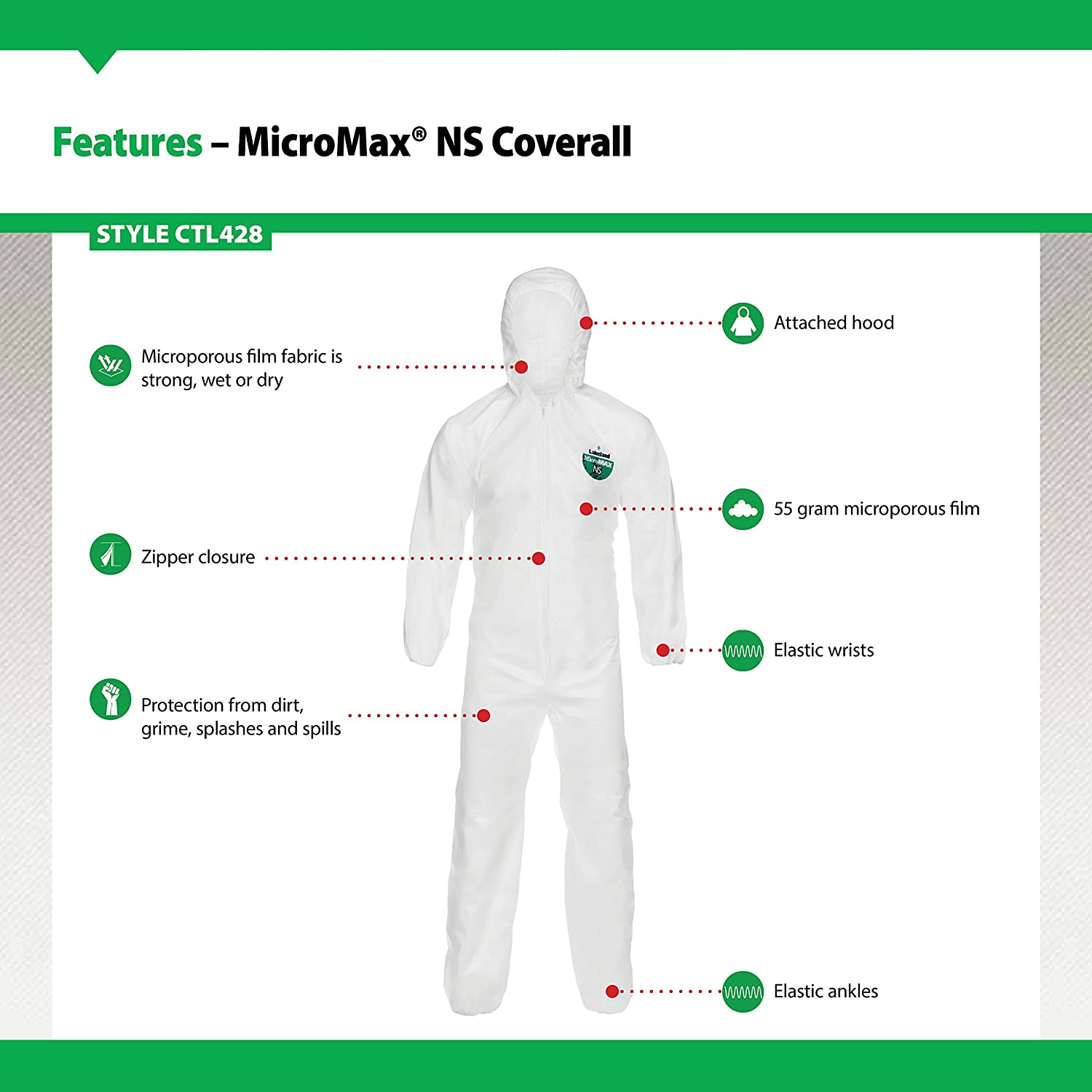White Lakeland Industries CTL428V-MD MicroMax NS Coverall Medium