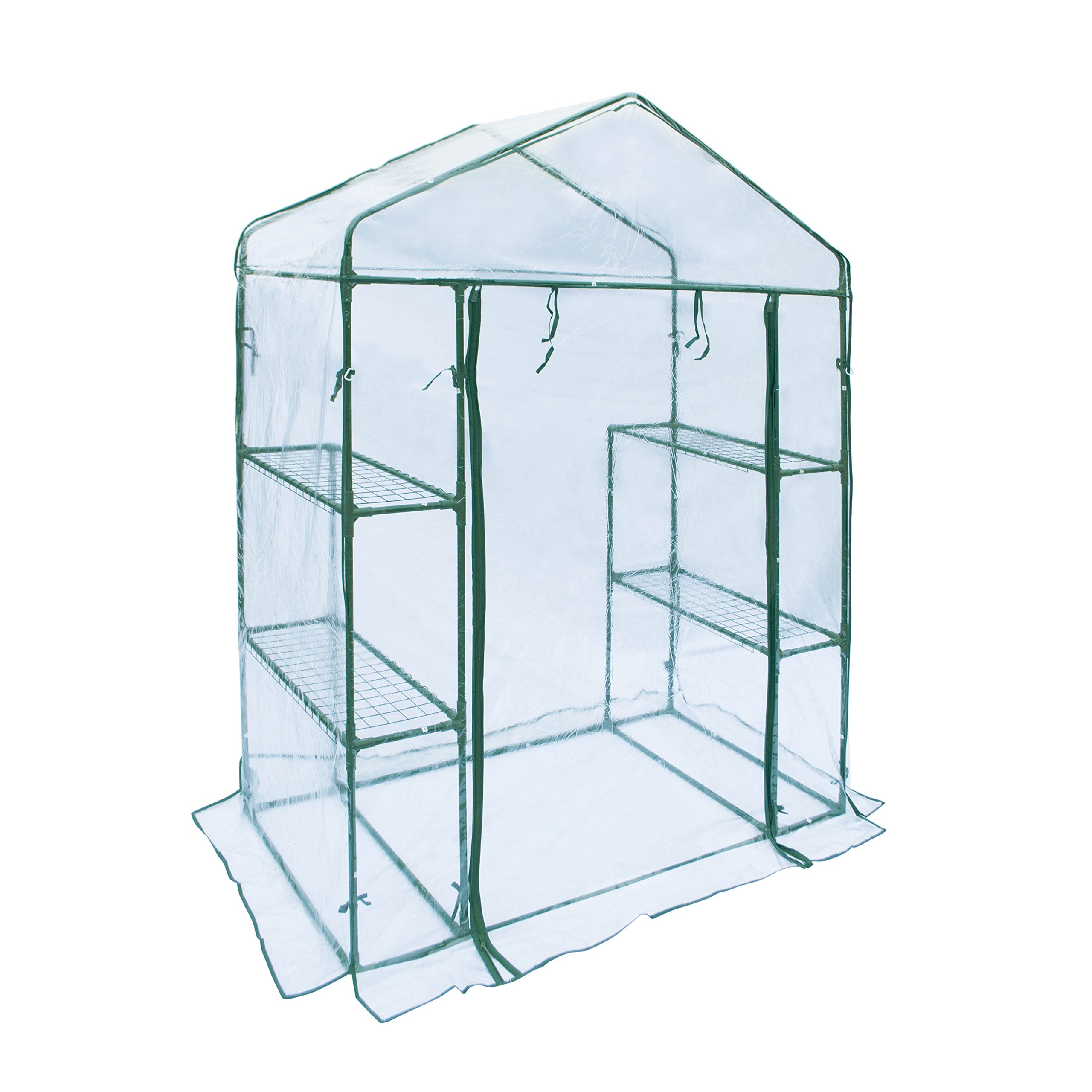 ALEKO GHTR56X29X77 Transparent Walk In 4 Shelves Garden Plant Outdoor Greenhouse Shed 56X29X77 Inches
