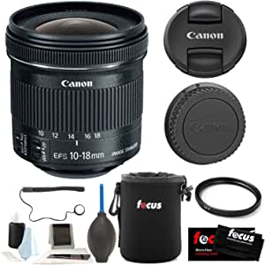 Canon EF-S 10-18mm f/4.5-5.6 IS STM Lens + 67mm UV Protector + Lens Pouch + A...