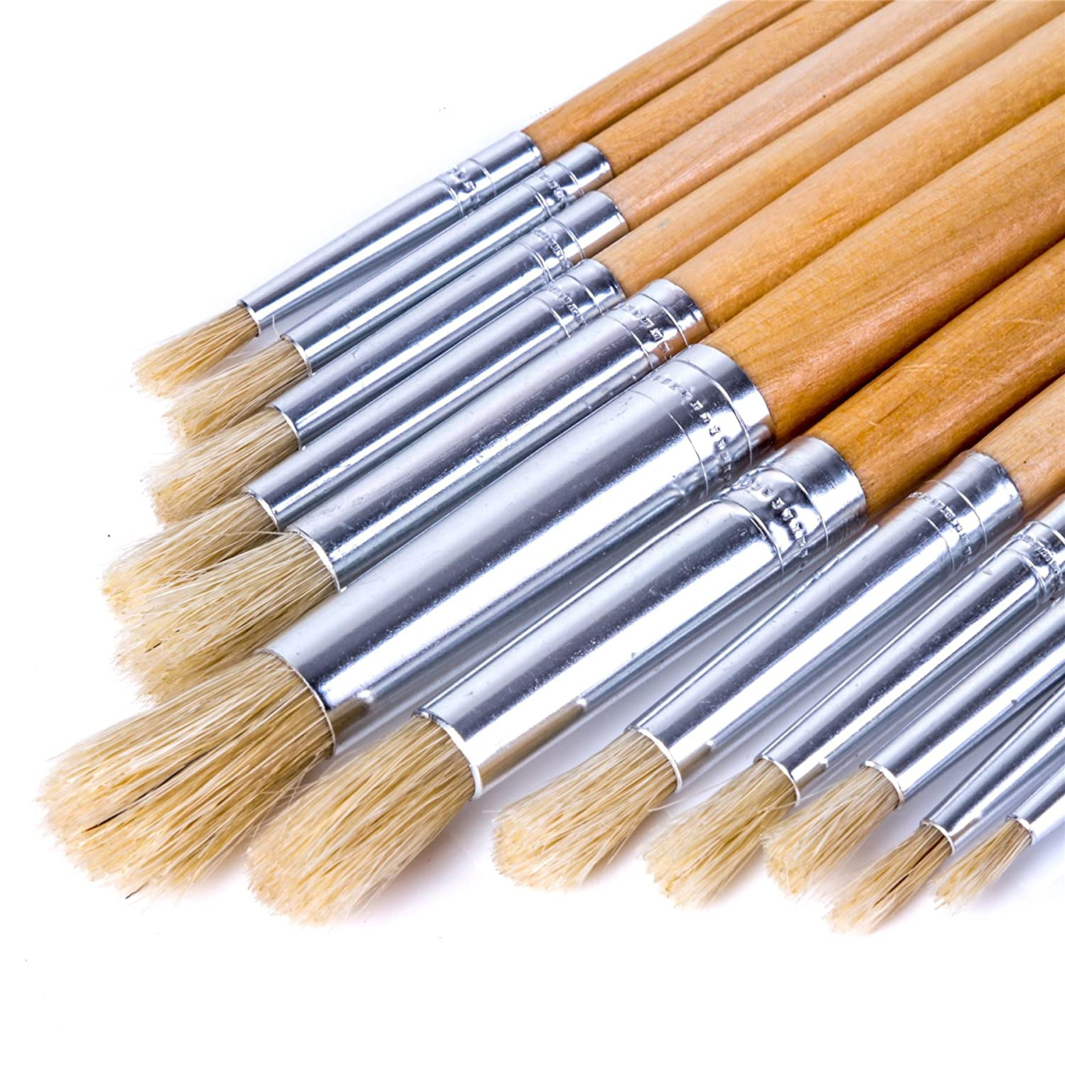 12x Small To Large Round Tipped Artist Paint Brush Set - 1mm - 12mm White Hinge