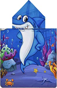 Pknoclan Blue Shark Kids Hooded Beach Towel, Cartoon Ocean Poncho Robes Hooded Pool Towels for Toddlers, Super Soft and Absorbent Baby Swim Towel for Kids