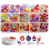 Pnbb Colorful Acrylic Beads Toy DIY Jewelry for Children Necklace and Bracelet Crafts - Style D About 584-piece Set