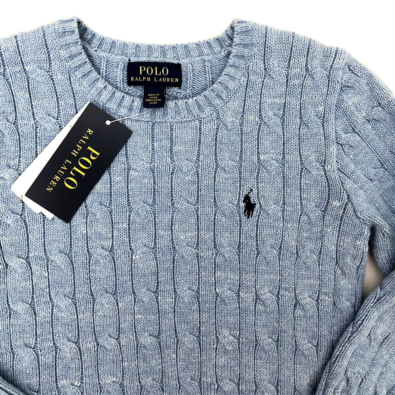 Blue Heather Ralph Lauren Boys Cableknit Crew Jumper Sweater