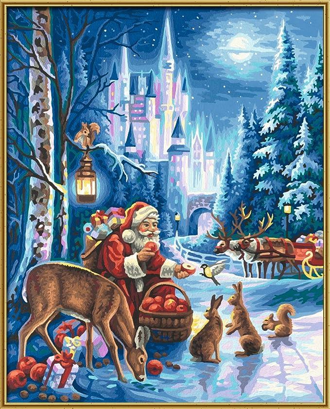 Weihnachtsbilder Italienisch.Schipper 609300695 Malen Nach Zahlen Weihnachtsmann Am Schloss Neuschwanstein 40 X 50 Cm