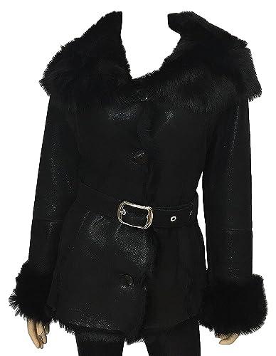 DX Leather Products - Abrigo - para mujer negro Large