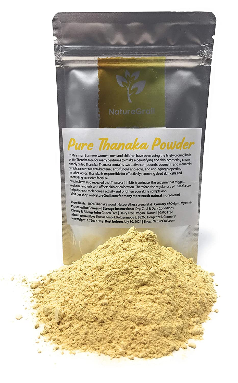 Pure Thanaka Powder - Beautifying And Skin-protecting Thanaka From Myanmar - Ingredients: 100% Thanaka Wood Powder (Hesperethusa Crenulata) - Kosher, Halal, Organic - Net Weight: 1.76oz / 50g