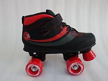 Patines tradicionales retro Junior Disco de cuatro ruedas con botas para deporte, rojo/negro
