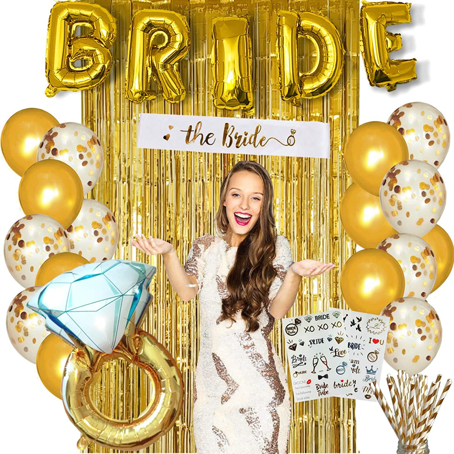 Photo backdrop Ring and Latex Balloons Tattoos Sash Gold PARTY2YOU Hen Party Decorations /& Accessories Complete set BRIDE Balloons Bridal shower Paper straws