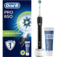 Oral-B Pro 650 Black Cross Action Electric Rechargeable Toothbrush and Toothpaste (UK 2-Pin Bathroom Plug)
