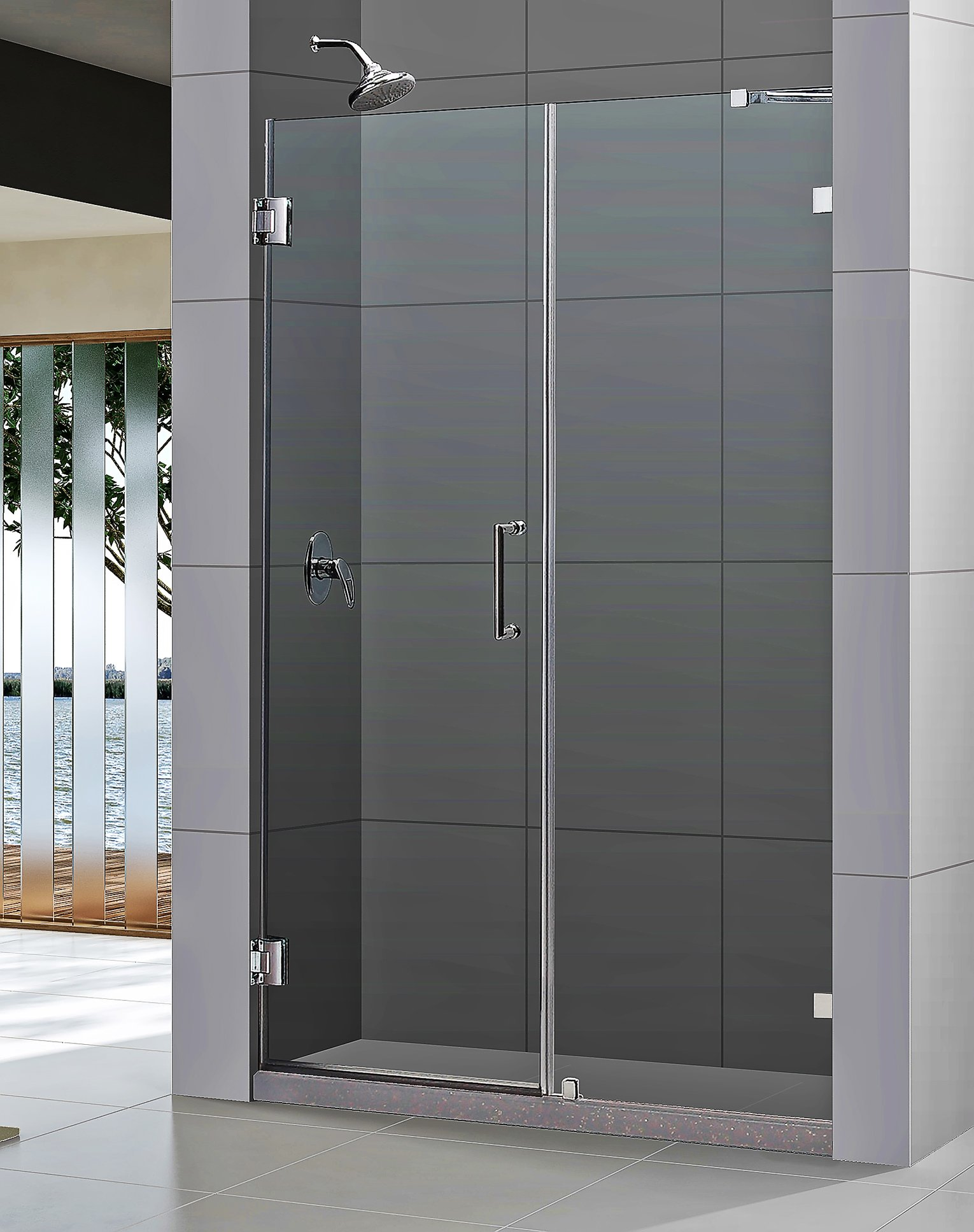 DreamLine Unidoor Lux 60 in. Width, Frameless Hinged Shower Door, 3/8'' Glass, Chrome Finish