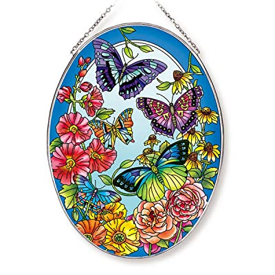 """Amia Butterfly and Floral Large Oval Glass Suncatcher, 9"""", Multicolor: Home & Kitchen"""