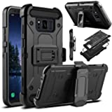 "Galaxy S8 Active Case, Venoro Heavy Duty Armor Shockproof Rugged Protection Case Cover with Belt Swivel Clip and Kickstand for Samsung Galaxy S8 Active 5.8"" 2017 Release (Black)"
