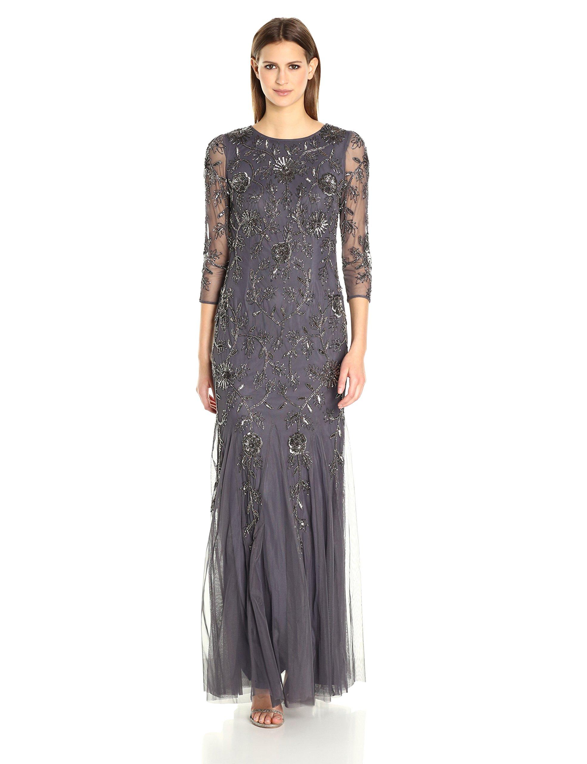 Adrianna Papell Womens Elbow Sleeve Long Beaded Velvet Dress Formal Dress