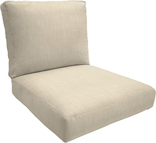 Eddie Bauer Home Deep Seating Lounge Double Piped, Medium, Canvas Flax