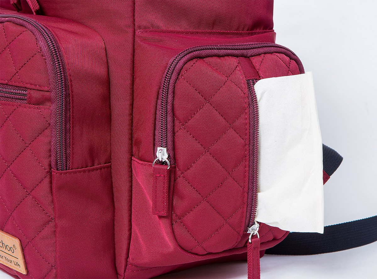 Diaper Bag Nappy Bags for Baby Care Multi-Function Mommy Bag Waterproof Travel Backpack Large Capacity Stylish and Durable Perfect for Travel Work or Outing PYETA red