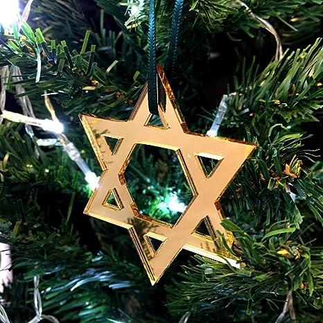 c5d8e316e7f24 Estrella de David de oro antidestellos del árbol de Navidad decoración -  paquete de Diez. Pasa el ...