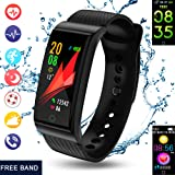 Fitness Tracker, Activity Tracker with Pedometer Swimming Heart Rate Blood Pressure Monitors Bluetooth Sleep Monitor SMS SNS Reminder for iOS Android Men Women Kids