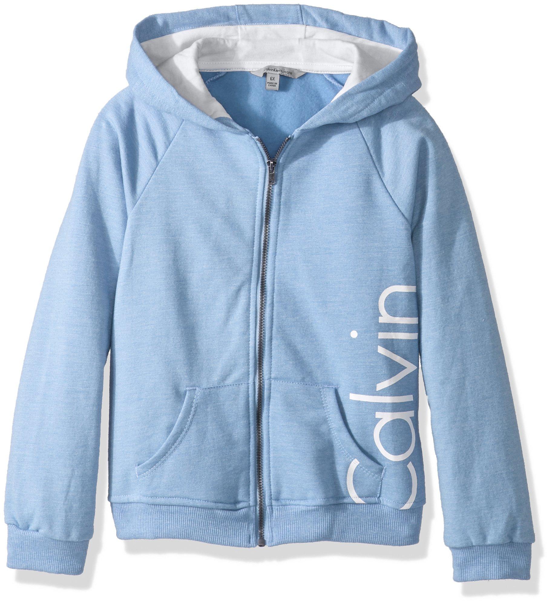 Calvin Klein Toddler Girls' Logo Zip Front Hoodie, Periwinkle, 4T