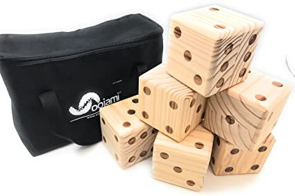 Oojami Giant Wooden Yard Dice With Carrying Canvas Bag