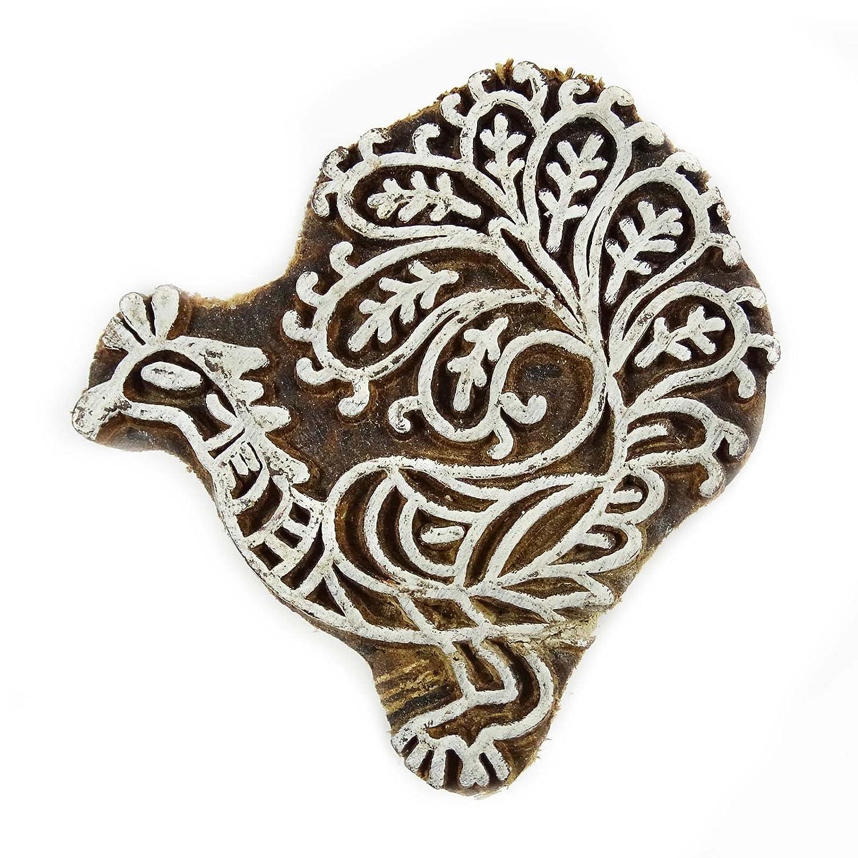 Stamp Handcarved Stampa di blocchi in legno decorativo Blockprint Peacock Indian legno Indianbeautifulart