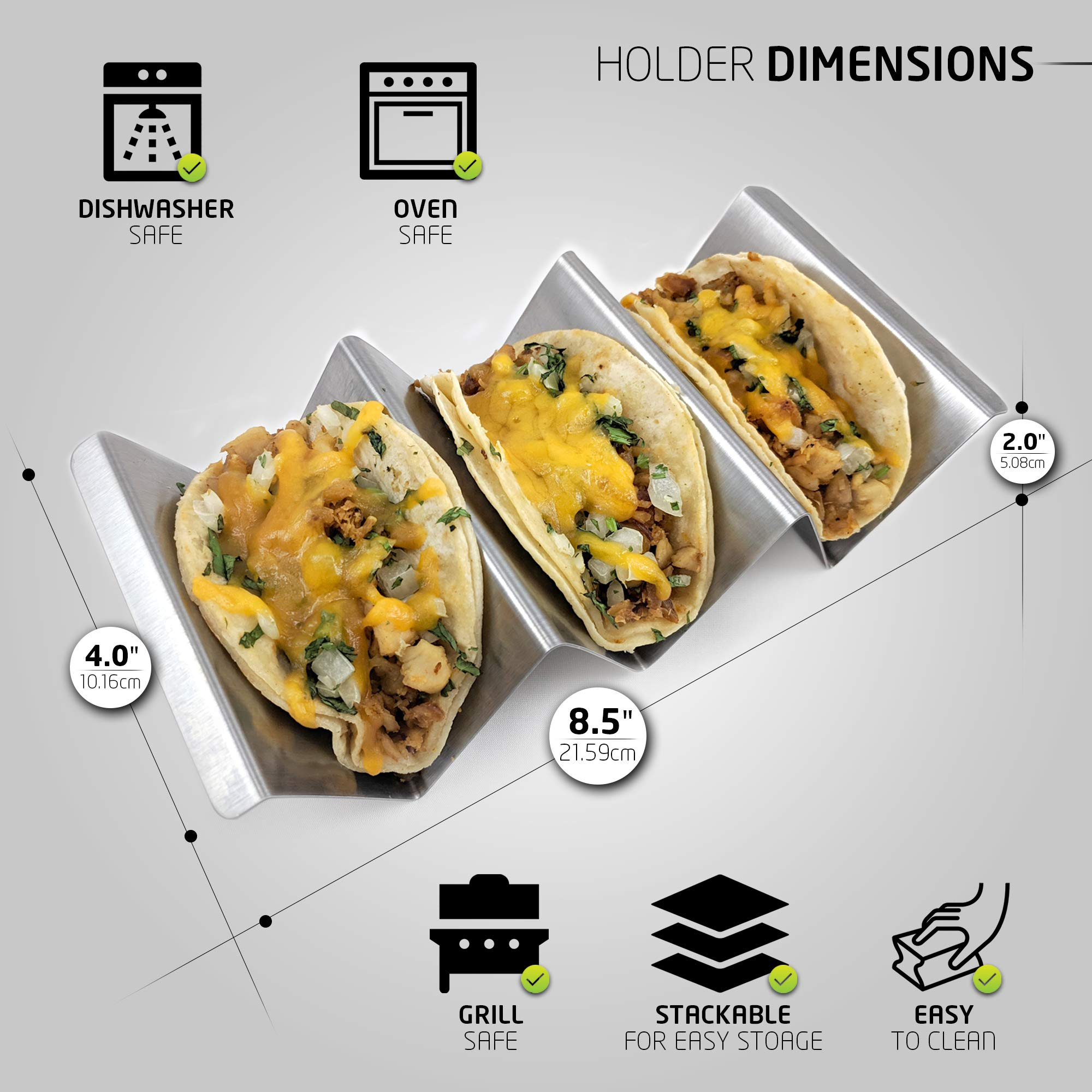 Taco Holder with Handles- Stainless Steel- Set of 6- Stand up 2-3 Tacos/Tortillas – Easy to Fill and Store- Dishwasher & Oven safe- Zamena Designs by Zamena Designs (Image #3)