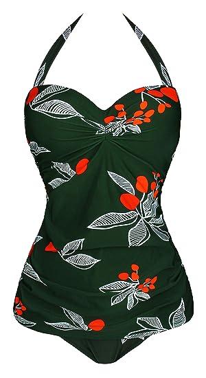 6923016b1e5ad Angerella Vintage 50s Pin Up Halter One Piece Swimsuit Monokinis   Amazon.co.uk  Clothing