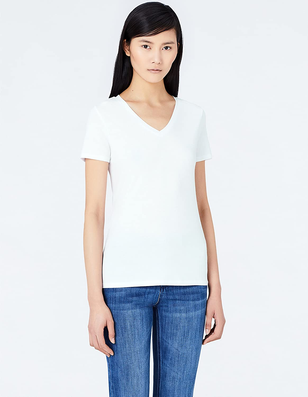 MERAKI V-Neck Camiseta para Mujer, Marca Pack de 2