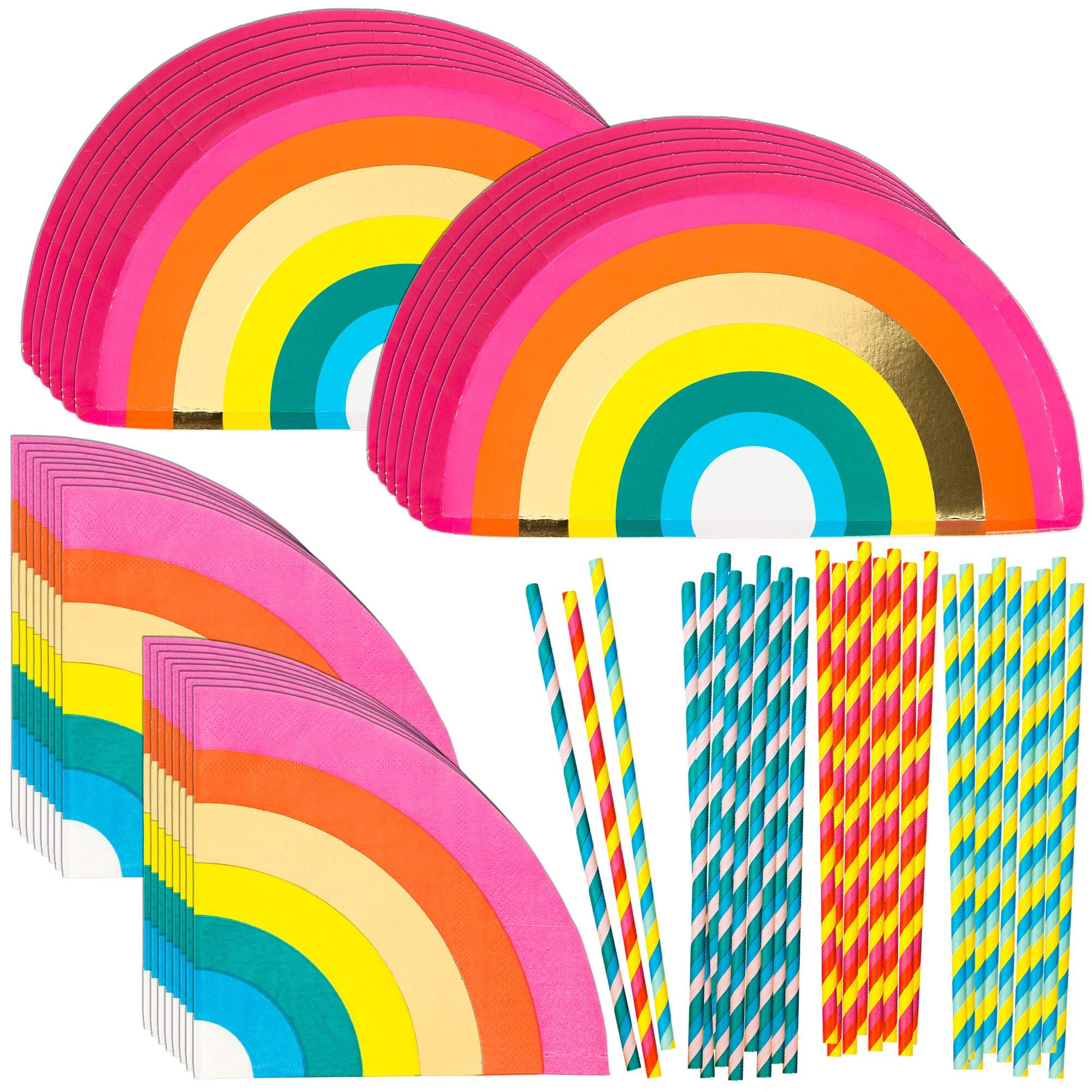 Talking Tables Birthday Brights Rainbow Party Supplies   Rainbow Paper Party Plates, Napkins and Straws