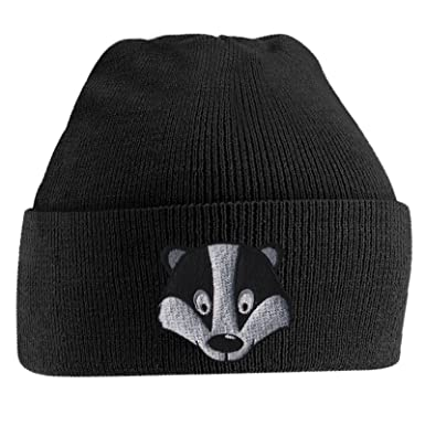 6254faaa7ee Badger Face Cute Animal Embroidered Beanie Hat Logo Men s - Black ...
