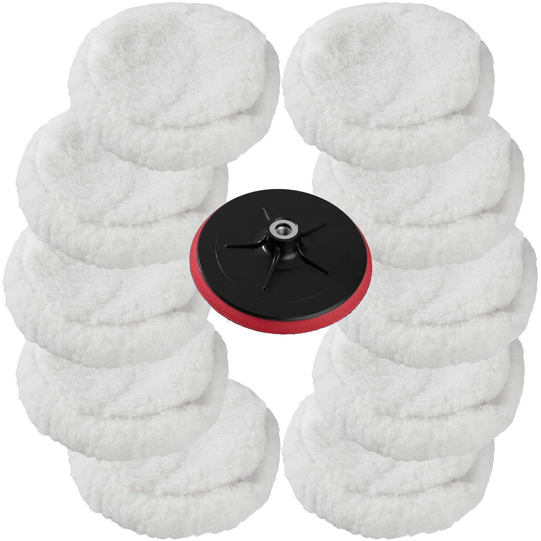 TecTake 10 discos de lana para pulidora má quina de pulir + plato 180mm con velcro