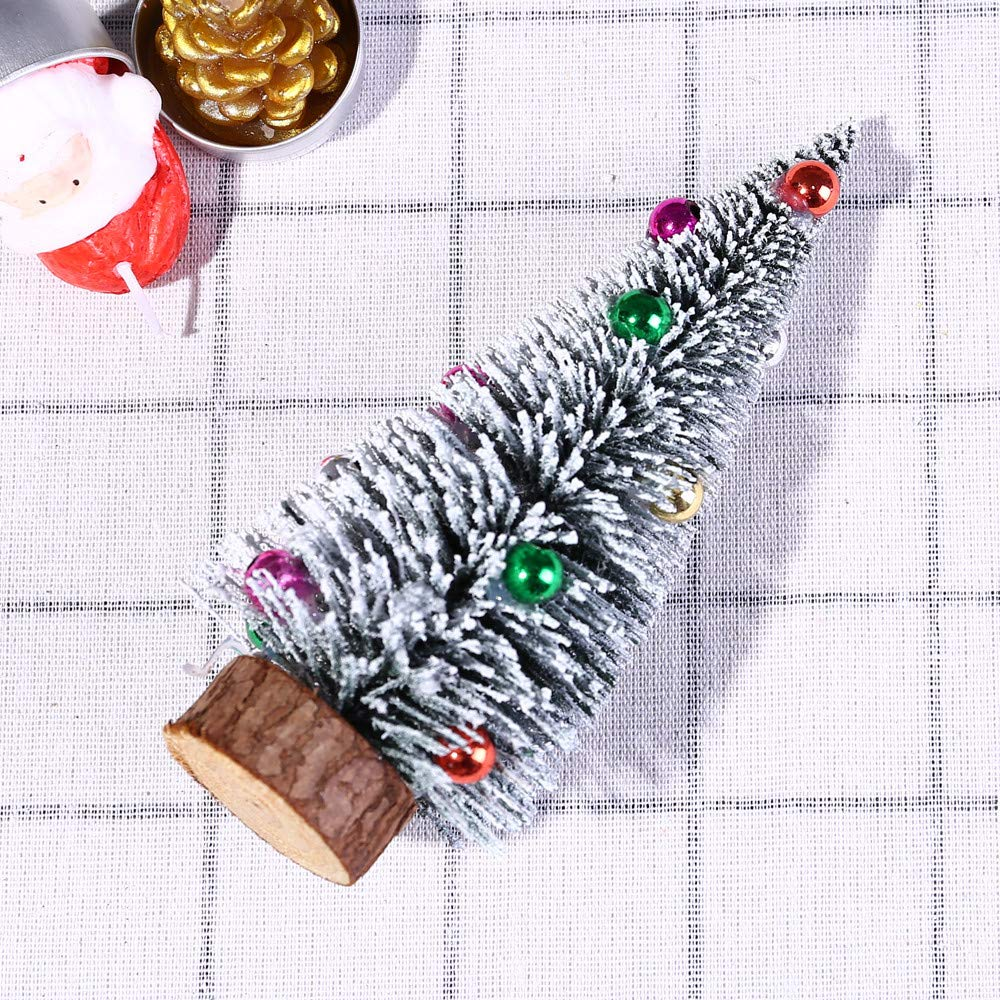 Tabletop Christmas Tree Mini Artificial Flocked Christmas Tree with Multicolored Balls Ornament and Wood Look Base Christmas Table Desk Tops Decorations (A)