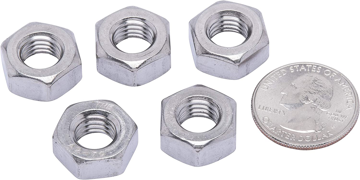 100 Pack by Bolt Dropper 304 M7-1.0 Metric Stainless Hex Nut, DIN 934 18-8 Stainless Steel Nuts