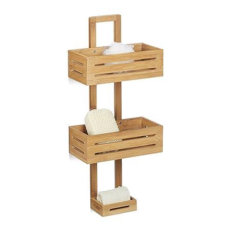 Relaxdays Bamboo Shower Caddy Size: 65 x 28 x 15.5 cm Shower Shelf ...