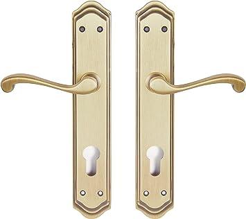 Manivela derecha de lat/ón fabricado en Espa/ña Barnizado semi-brillo Medida placa: 270x49 mm. Color dorado mate y brillo
