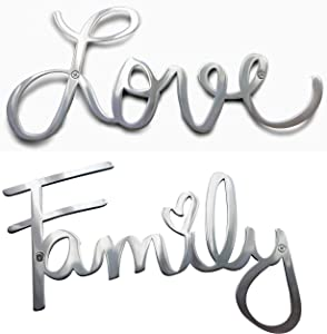 Way Of Hearts Metal Love and Family Signs Bundle-Silver Wall Decor-Farmhouse Wall Decorations for Living Room-Wall Art- Home and Kitchen Decor-Room Decor-Polished Stainless Steel Signs