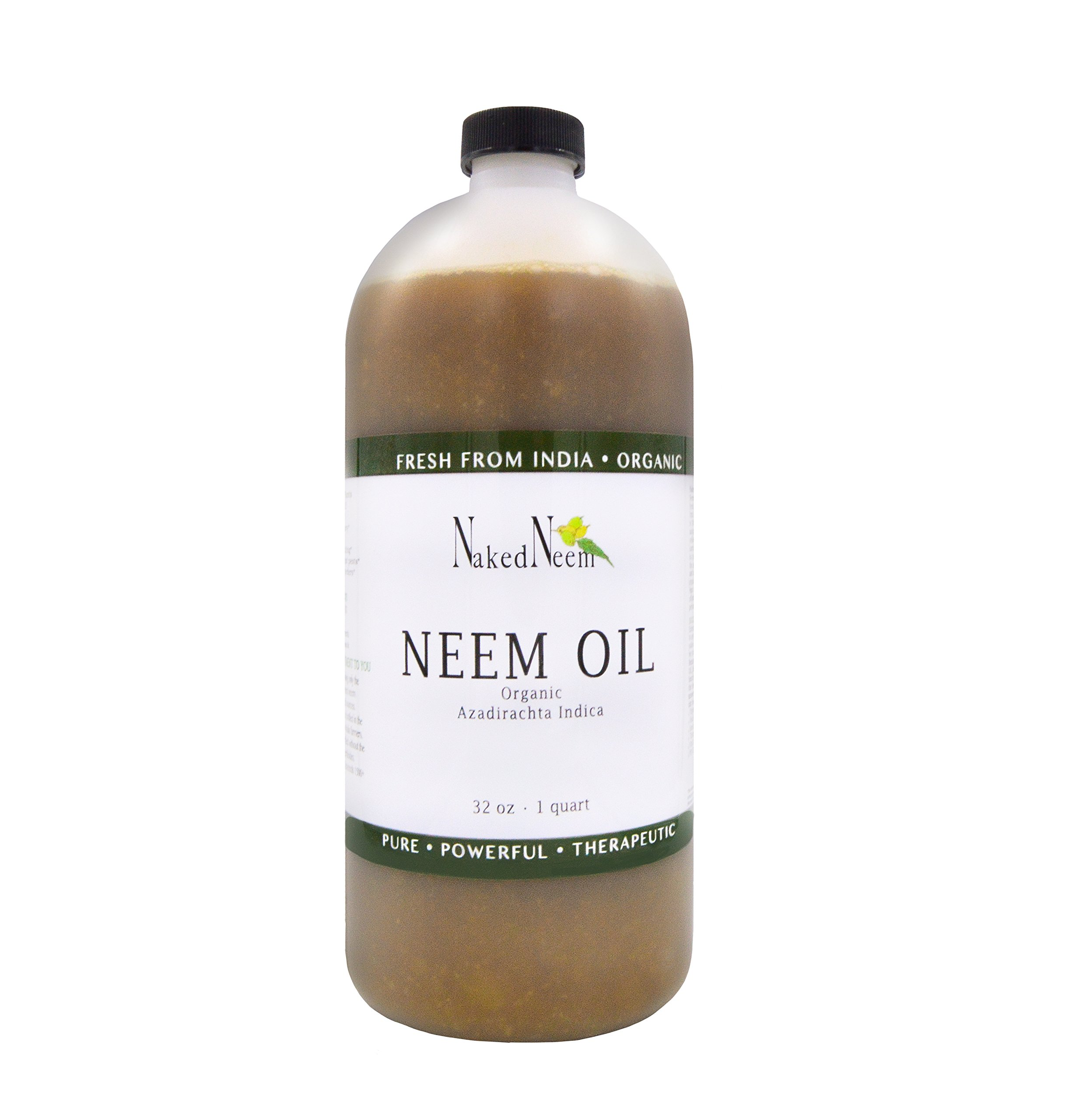 Zatural Organic Virgin Neem Oil 32 Ounce: 100% Natural Pure Cold Pressed No Additives, Unrefined Concentrate for Body and Skin, Pets, and Plants or Garden