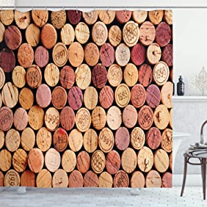 Ambesonne Wine Shower Curtain, Random Selection of Used Wine Corks Vintage Quality Gourmet Taste Liquor, Cloth Fabric Bathroom Decor Set with Hooks, 70