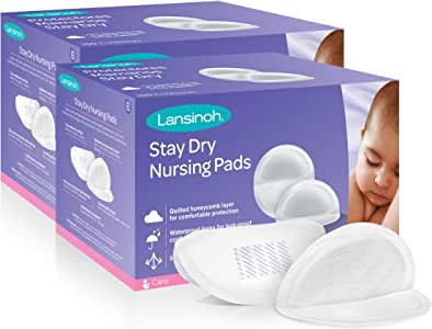 Lansinoh Stay Dry Disposable Nursing Pads, 200 Count (2 Packs of 100), Superior Absorbency, Ultra Soft Leak Protection for Breastfeeding, Non-Toxic Milk Pads, Nursing Essentials