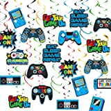 TMCCE Video Game Party Supplies,Gamer Birthday Party Supplies Hanging Swirl Decorations for Video Game Birthday Party…