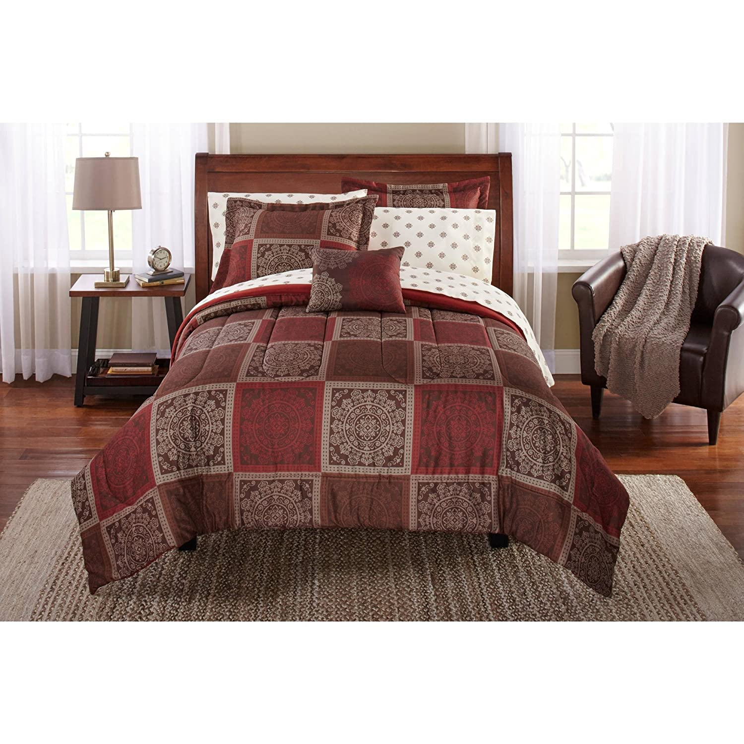 Mainstays Bed in a Bag Bedding Comforter Set, Tiles Design, QUEEN Set, Brown & Burgundy Color